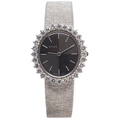Scaldis 18 Karat White Gold Diamonds Vintage Ladies Watch
