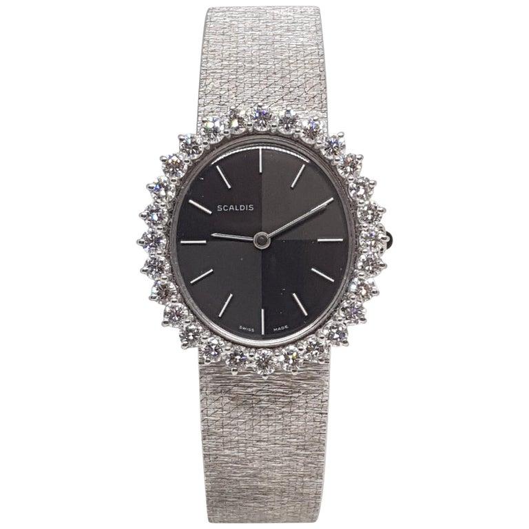 Scaldis 18 Karat White Gold Diamonds Vintage Ladies Watch For Sale