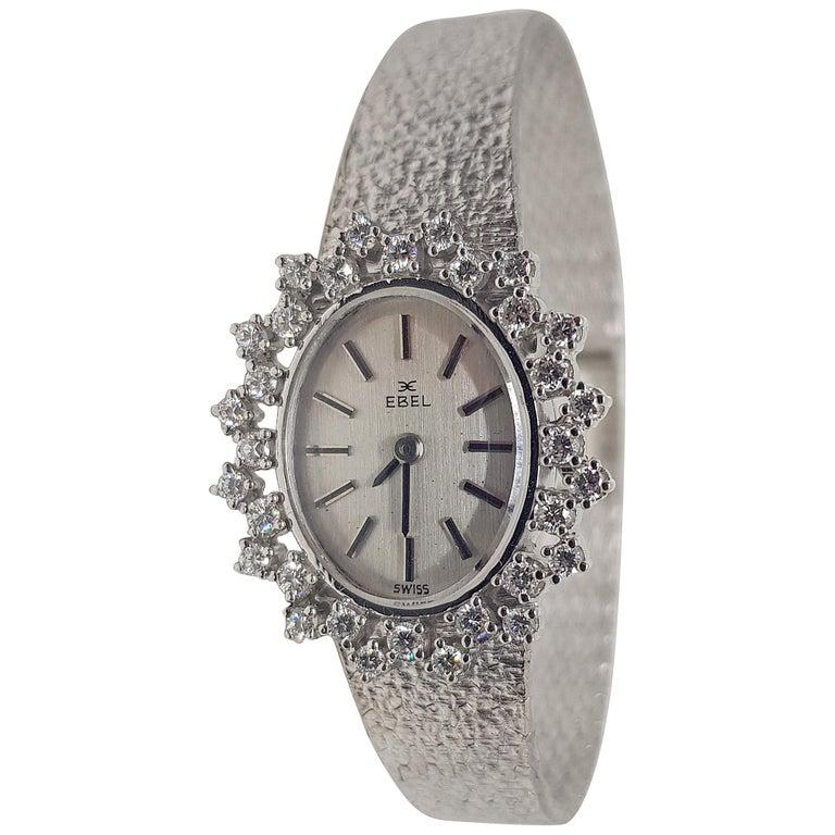 Ebel 18 Karat White Gold Diamond Vintage Ladies Watch For Sale