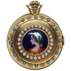 Colladon A. Geneve Antique Turquoise Baby Pearls Enamel Gold Pocket Watch
