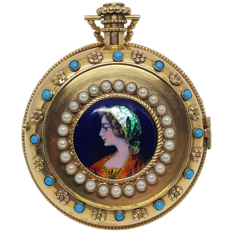 Colladon A. Geneve Antique Turquoise Baby Pearls Enamel Gold Pocket Watch For Sale