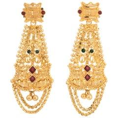 Vintage Enamel Earrings 22 Karat Gold High Karat Dangle Drop Ornate Textured