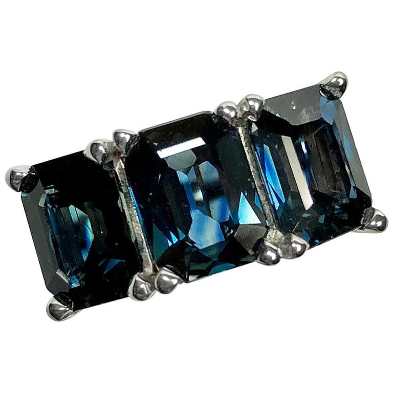 5.50 Carat Blue Natural Sapphire Three-Stone Wedding Ring White Gold For Sale