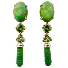 Michael Kneebone Peridot Variscite Aventurine Dangle Earrings