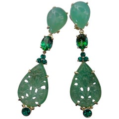 Michael Kneebone Chrysoprase Green Topaz Diopside Jadeite Dangle Earrings