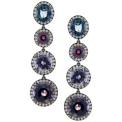 23 Carat Three Colored Spinel and 1.74 Carat Diamond Earrings in 18 Karat Gold