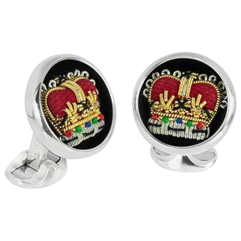Deakin & Francis Sterling Silver Embroidered Crown Cufflinks 1
