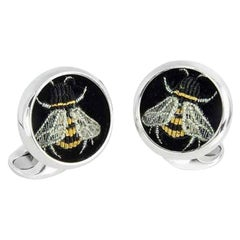 Deakin & Francis Sterling Silver Embroidered Bee Cufflinks
