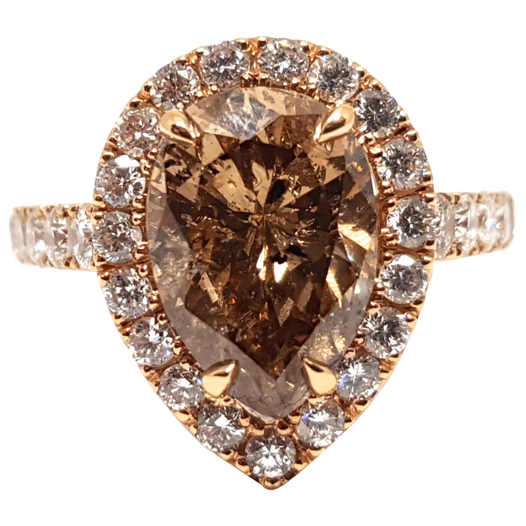 3.76 Carat 18 Karat Pink Rose Gold White Fancy Brown Diamond Engagement Ring