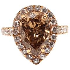 3.76 Carat 18 Karat Pink Rose Gold White Fancy Brown Diamond Engagement Ring
