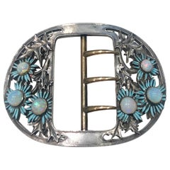 Rene Lalique Blue Daisies Buckle Silver Yellow Gold Enamel Opals, circa 1890