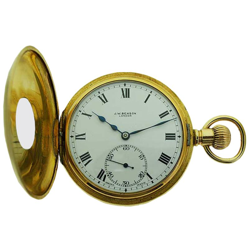 J.W. Benson Yellow Gold Filled Half Hunter Pocket Watch, circa 1900s
