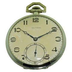 South Bend White GF Art Deco 21 Jewel Pocket Watch with Original Dial circa 1910