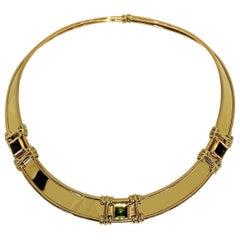 La Nouvelle Bague Rigid Necklace in 18 Karat Gold and Natural Green Tormaline