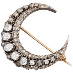 Antique French Crescent Brooch, Victorian Era