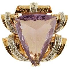14.21 Carat Amethyst Little Diamonds Rose Gold Cocktail Ring