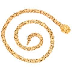 Antique Georgian 15 Karat Gold Star-Link Chain Necklace