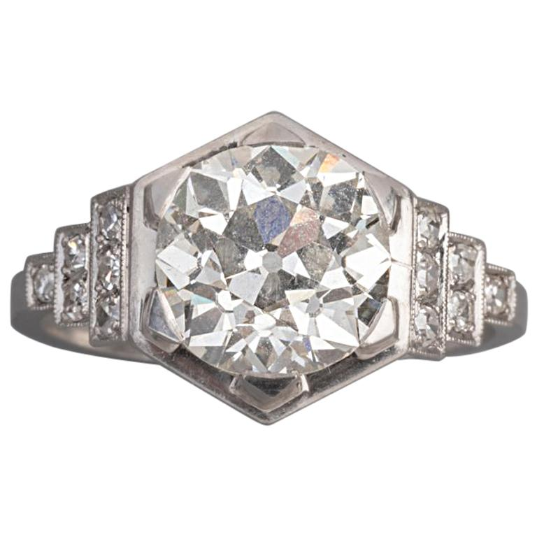 3.81 Carat French Art Deco Ring, Platinum and Diamonds For Sale