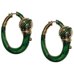 Yellow 18 Karat Gold and Green Enameled Earrings