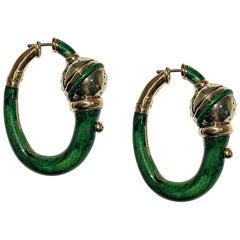 Yellow 18 Karat Gold and Green Enameled Earrings