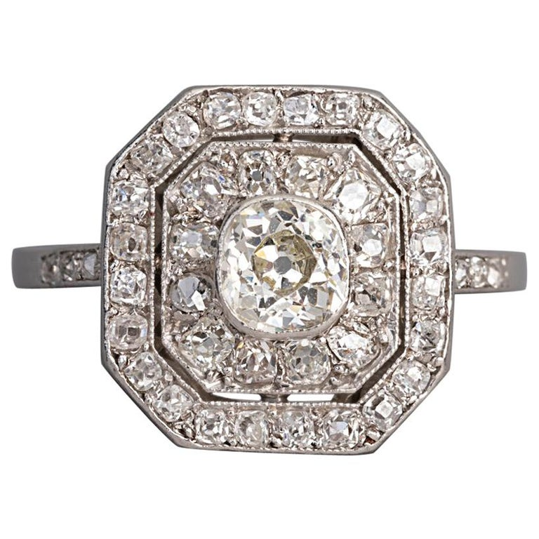 Platinum and Diamonds French Art Deco Ring For Sale