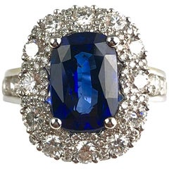 4.04 Carat Cushion Cut Fine Sapphire Ring in 18 Karat White Gold