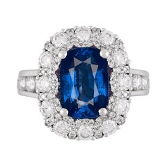 DiamondTown GIA Certified 4.04 Carat Cushion Cut Fine Sapphire Ring