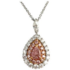 GIA Certified 0.34 Carat Natural Fancy Pink Diamond Pendant in Rose/White Gold