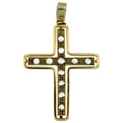 Antique Yellow Gold Diamond Cross Pendant Necklace