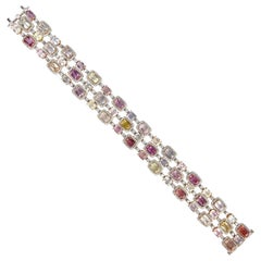 31.54 Carat Natural Color Sapphire and Diamond Bracelet in Rose and White Gold