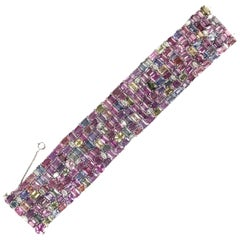 DiamondTown GIA Certified 119.06 Carat Multicolor Sapphire and Diamond Bracelet