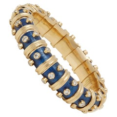 Tiffany & Co. 18 Karat Yellow Gold Diamond and Blue Enamel Schlumberger Bracelet