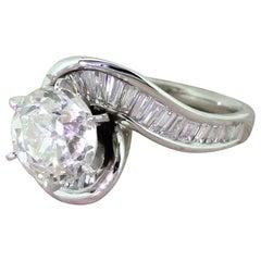 Retro 2.43 Carat Old European Cut Diamond Engagement Ring