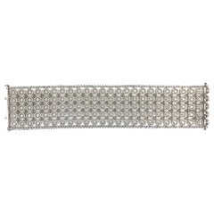 DiamondTown 14.12 Carat Diamond Lace Array Bracelet in 18 Karat White Gold