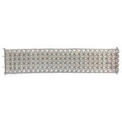 DiamondTown 14.12 Carat Diamond Lace Array Bracelet in 18 Karat White Gold
