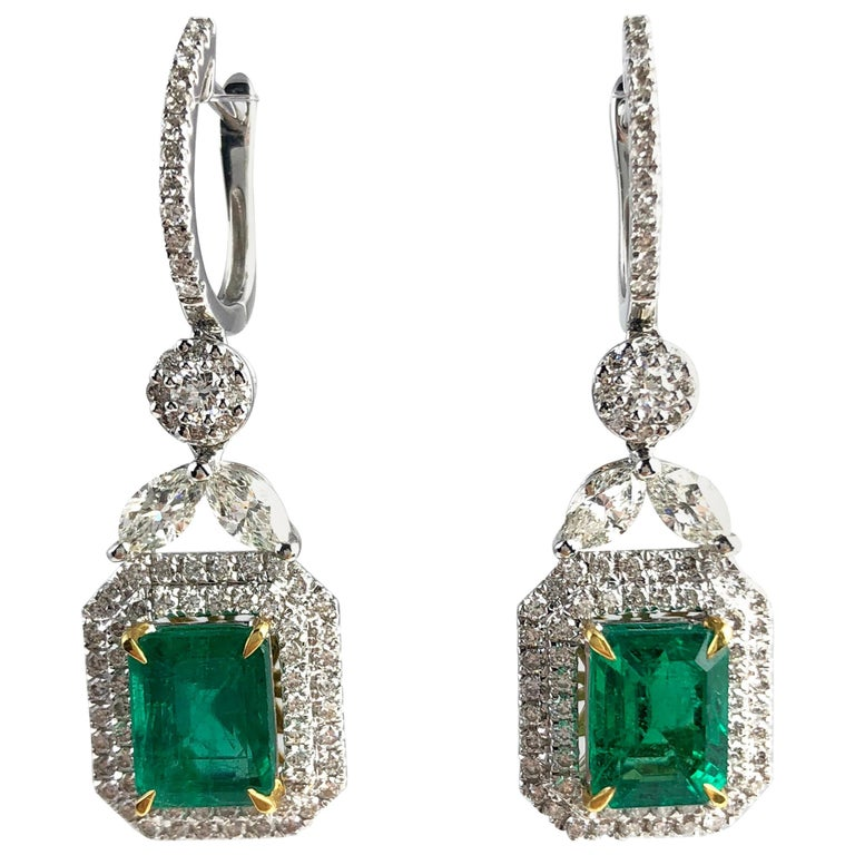 3.10 Carat Emerald Halo Lever-Back Dangle Earrings in 18k White and Yellow Gold For Sale