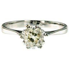 Estate 1.12 Carat Diamond Engagement White Gold Ring