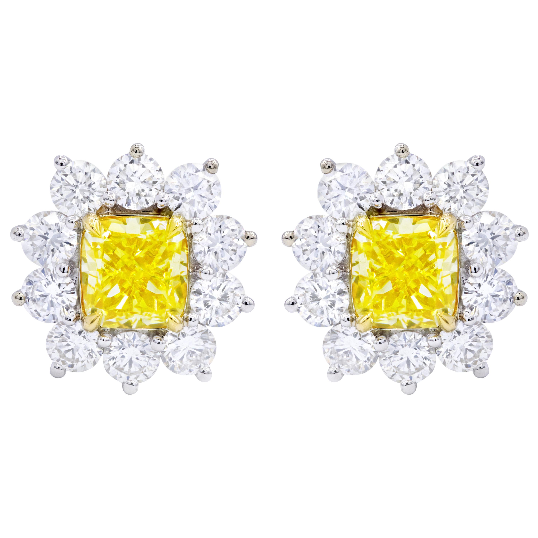 GIA Certified 3.06 Carat Fancy Yellow Diamond Stud Earrings