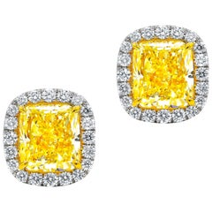 GIA Certified 2.10 Carat Fancy Yellow Diamond Stud Earrings
