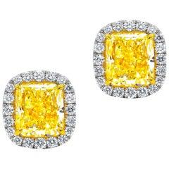 GIA Certified 2.10 Carat Fancy Yellow Diamond Stud Earrings