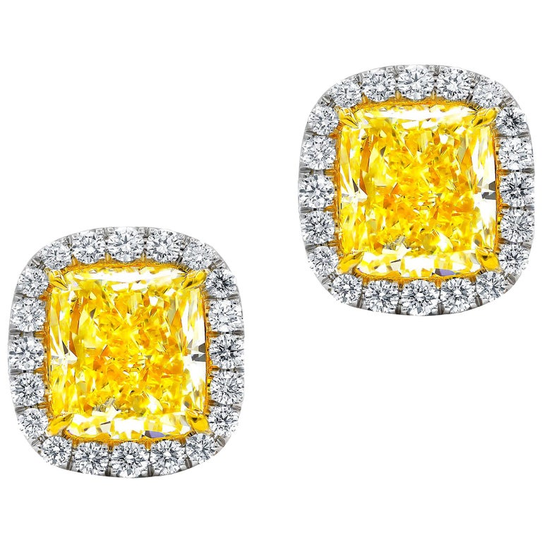 GIA Certified 2.10 Carat Fancy Yellow Diamond Stud Earrings For Sale