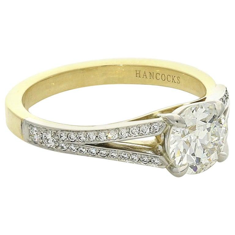 71e4e9bca Hancocks 1.05 Carat Old European Brilliant Cut Diamond Ring with Split  Shoulders For Sale