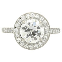 Hancocks 1.70 Carat Old European Brilliant Cut Diamond Ring with Halo Surround