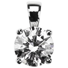 GIA Certified 2.01 Carat F VS1 Round Diamond Single Stone Solitaire Pendant