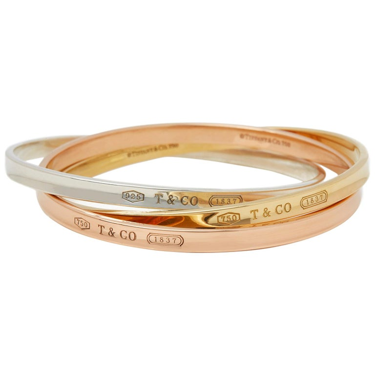 0be47b76c Tiffany & Co. 18k Yellow, Rose Gold & Silver 1837 Bangle Bracelet ...