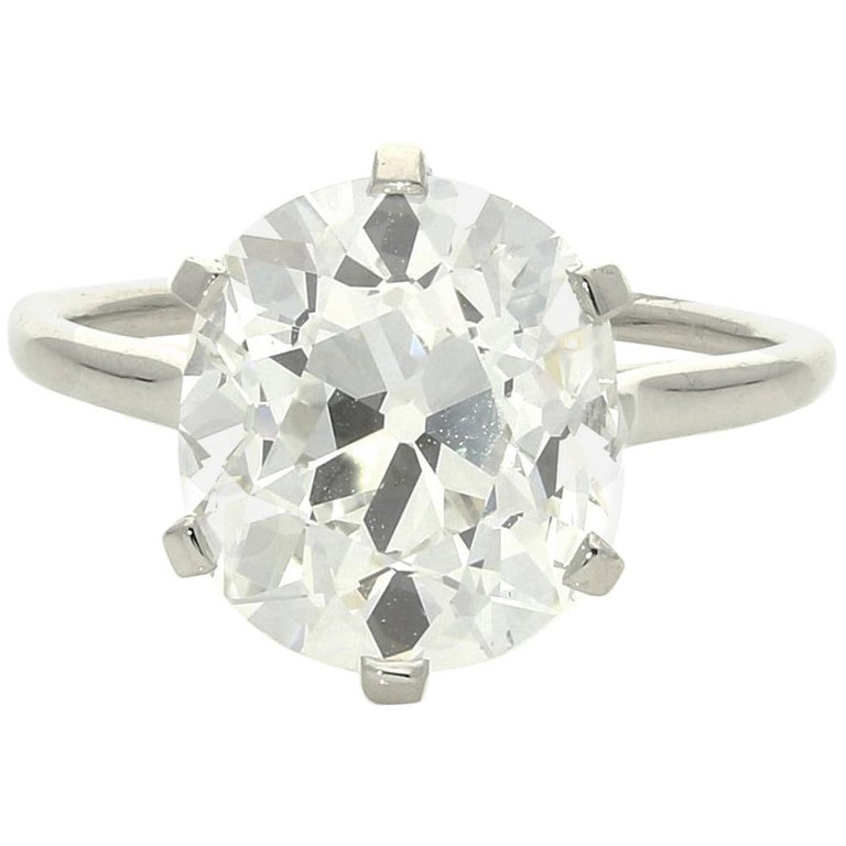 Cartier Diamond Solitaire Ring with a 6.06 Carat Old Mine Brilliant Cut Diamonds 2