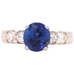 2.52 Carat Blue Sapphire and Diamond Ring