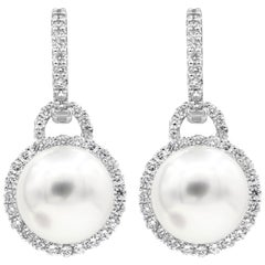 Pearl and Diamond Halo Dangle Earrings