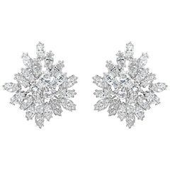 9.73 Carat Cluster Diamond Starburst Earrings