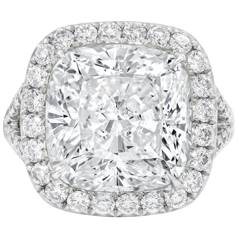 GIA Certified 8.03 Carat Cushion Cut Diamond Ring